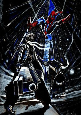 Fenice Vs Spiderman : illustration technique mixte sur papier 43x35