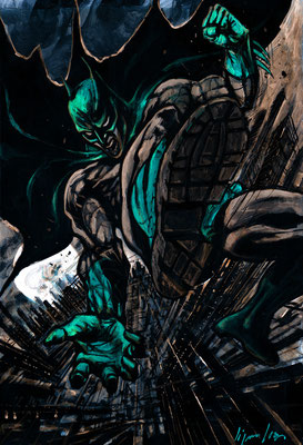 Green Batman : illustration 63x45 technique mixte