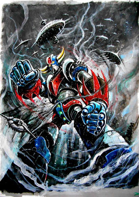 "Grendizer "" Goldrake "" : illustration technique mixte sur papier 45x60  2015"