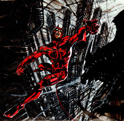 Daredevil illustration, technique mixte 44x45