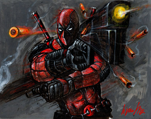 Deadpool 43x33,5 technique mixte 2017
