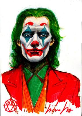 Joker année 2019 acrylique, couleur a l'Huile,  dimension 50x32 sur papier cartonné