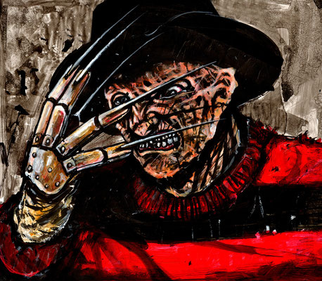 freddy krueger illustration 33x28 sur papier technique mixte 2015