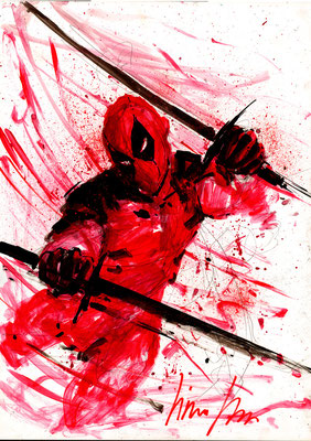 Deadpool 32x45 sur papier, technique mixte