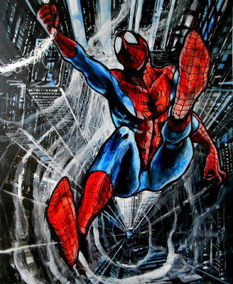 """Spiderman"" : illustration, technique mixte sur papier"