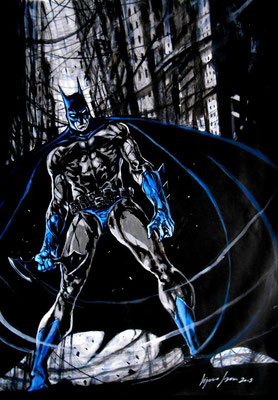 Batman : illustration 63x45 technique mixte