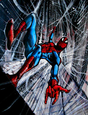 """Spiderman"" : illustration, technique mixte"