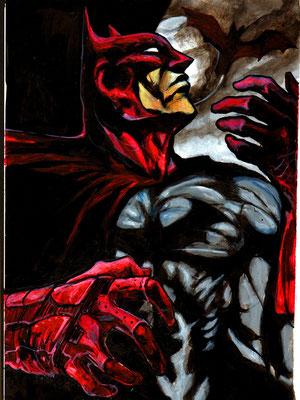 Batman : illustration, technique mixte 23x32