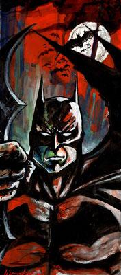Batman : illustration, technique mixte 19,5x45