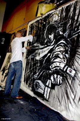 Art contemporain : Performance réaliser Au festival Bd de Gruissan - Fenice  - Année 2011 - Acrylique et pastel gras sur toile - Dimension 200x200 Thème Fenice.