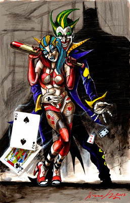 joker arlequin 31x49 2017 technique mixte