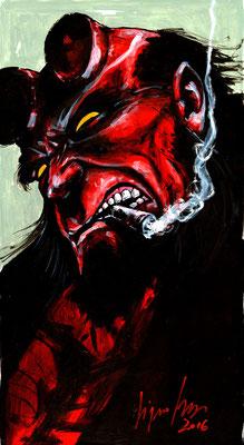 Hellboy 50x27,5 sur papier, technique mixte