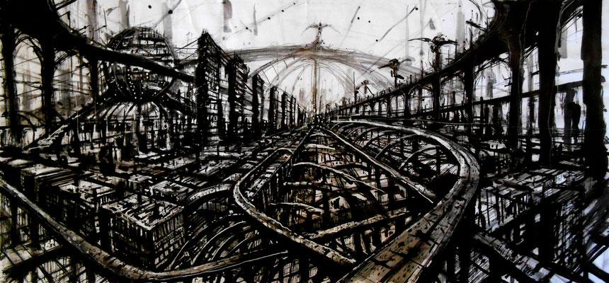 orchestra haut 100x55- 2014 acrylique, encre de chine, guache, crayon gras