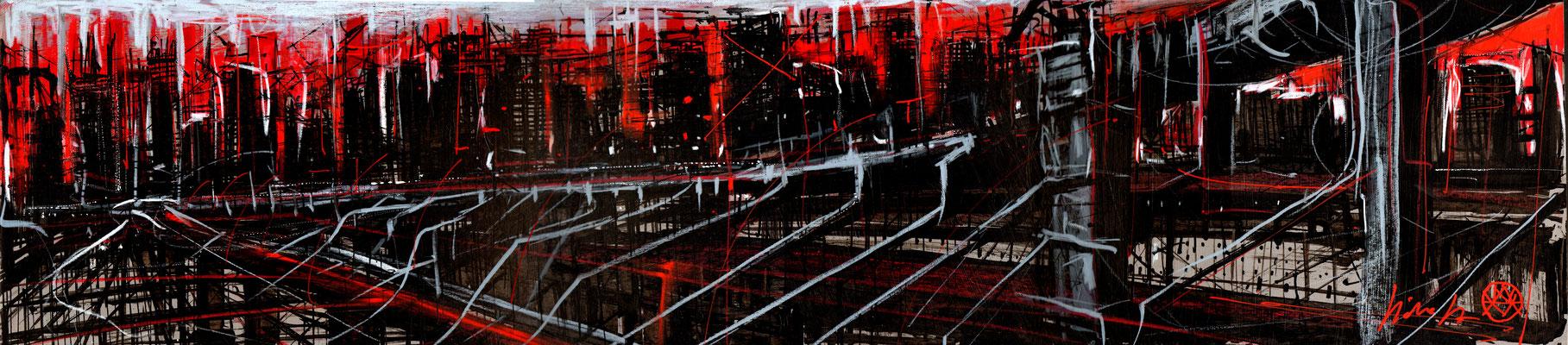 Le Rouge et Noir 28x120- 2017 acrylique, encre de chine, gouache, pastel gras.