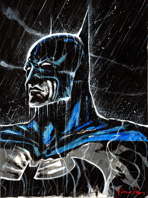 Batman : illustration 40x30 technique mixte