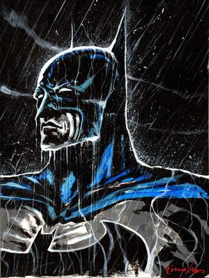 Batman : illustration 40x30 technique mixte