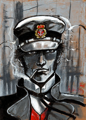 "Corto Maltese 29,7x42 sur papier technique mixte 2015 ""collection privée"""