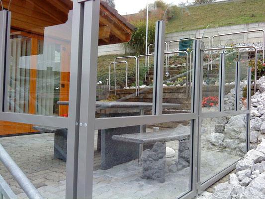 Windschutzanlage klares Glas