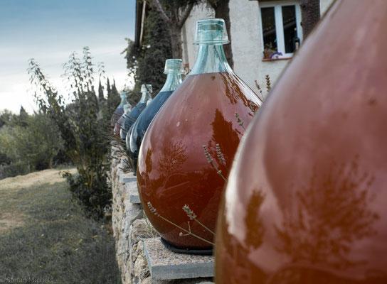 Das Stoppen der Fermentation erfolgt in Glasballons, die in die Sonne gestellt werden.