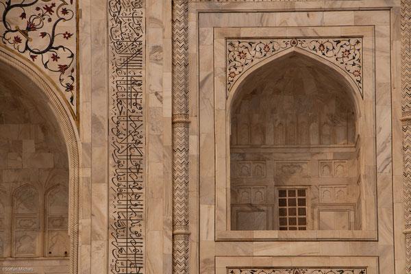 Taj Mahal, ganz mit Marmor und Halbedelsteinen verkleidet