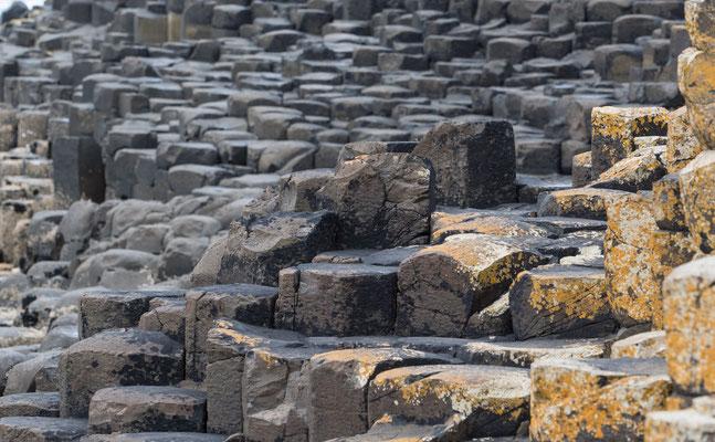 Geologen führen die Entstehung des Basaltdammes auf die Abkühlung heißer Lava zurück.
