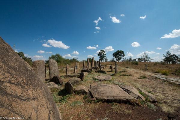 Stelenfeld von Tina. Die Stätte besteht aus 36 Einzelmonumenten, davon 32 mit Symbolen einer alten äthiopischen Kultur bedeckte steinerne Stelen.