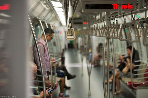 Die U-Bahn auch heruntergekühlt auf 18 Grad.
