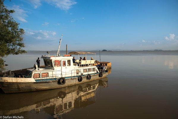 Tanasee- Er ist ca. 70 km lang und bis zu 65 km breit und hat eine Fläche von mehr als 3.000 km²; ca.rund 370 km nordwestlich von Addis Abeba .