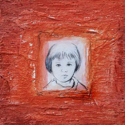 Carina, Mischtechik auf Holz, 40x40 cm