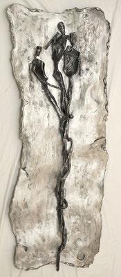 ENTWICKLUNG; Geschmiedetes Eisen und geschmolzenes Aluminium, 158x62x8 cm