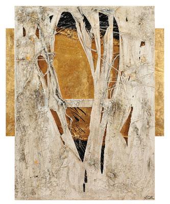 SICH ÖFFNEND;  Blattgold, Wurzeln, Sand, Papier und Acryl auf Leinwand, 100x81 cm