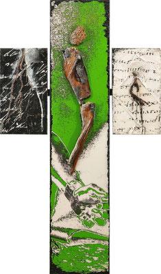 AM KREUZ V (SCHWEMMHOLZKREUZ), Mischtechnik, 80x47,5 cm