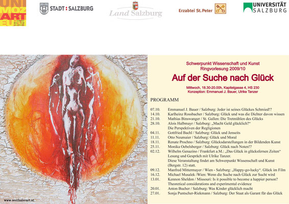 Plakat für die Ringvorlesung der Universität Salzburg mit Titelbild von Seethaler Alois