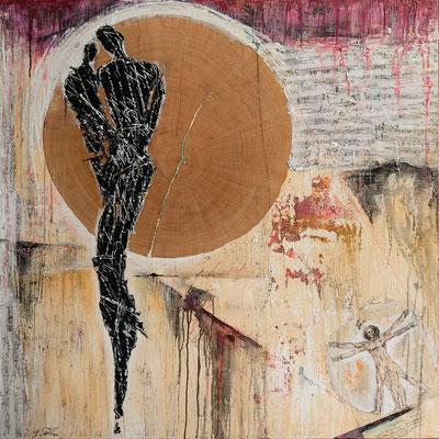 INNENREISE I; Mischtechnik auf Leinwand, 150x150 cm