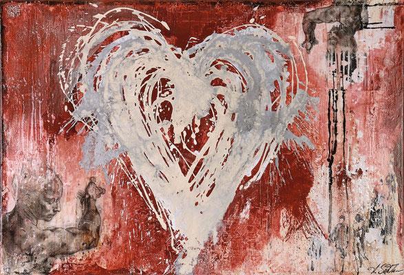 ALL YOU NEED IS LOVE; Mischtechnik auf Leinwand, 65x95 cm