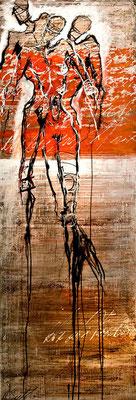 AUFSTREBEND; Mischtechnik auf Leinwand, 180x60 cm