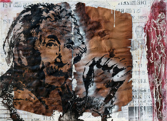 DIE ZEIT IST REIF; Pappelholzfurnier, Harz, Papier und Acryl auf Leinwand, 95x130 cm