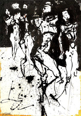 GEMEINSAM AUFBRECHEN; Mischtechnik auf Leinwand, 100x70 cm