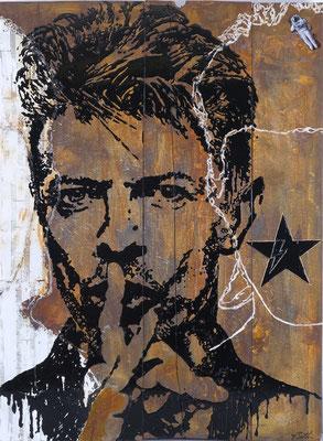 DAVID BOWIE - VOM ZIGGY STARDUST ZUM BLACKSTAR; Lack, Rost, Papier auf Holz, 122x81 cm