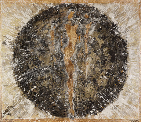 MENSCHWERDUNG II; Asche, Ruß, Hadernpapier, Blattgold, Acryl auf Leinwand, 95x110 cm