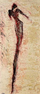 MENSCH IM LEBENSNETZ III; Mischtechnik auf Holz, 105x50 cm