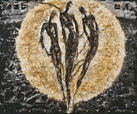 IM LICHT II; Wurzeln, Sand, Steine, Harz, Blattgold, Projektile, Holz und Acryl auf Leinwand, 100x120 cm