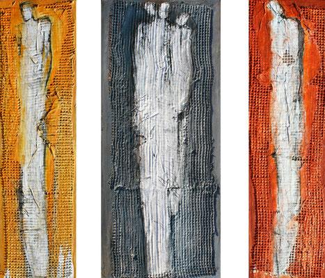 GEFÄHRTEN XI; Mischtechnik auf Holz, 3-tlg, 105x120 cm