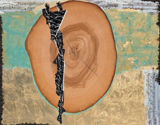 INNENREISE II; Mischtechnik und Blattgold auf Leinwand, 95x120 cm