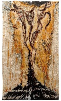 IN DER MITTE ENTSPRINGT EIN FLUSS; Mischtechnik auf Holz, 161x95 cm