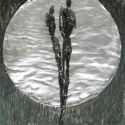 KINDER DES LICHTES; Geschmiedetes Eisen und geschmolzenes Aluminium, 85x85 cm