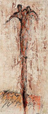 MENSCH IM LEBENSNETZ; Mischtechnik auf Holz, 105x50 cm