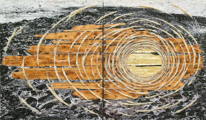 ZUEINANDER FINDEN; Mischtechnik mit Schafwolle, Altholz und Blattgold, 125x210 cm
