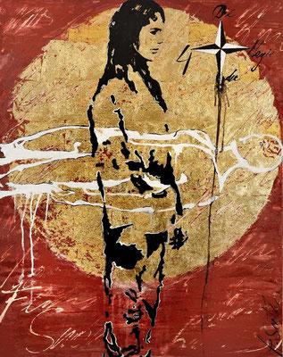 DIE MAGIE DER VIER; Blattgold und Mischtechnik auf Leinwand, 120x95 cm