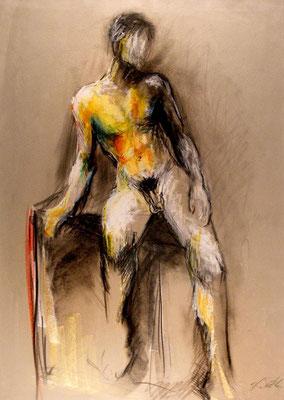 ADONIS; Pastell auf Papier, 70x50 cm